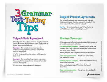 <em>3 Grammar Test-Taking Tips</em> Reference Sheet