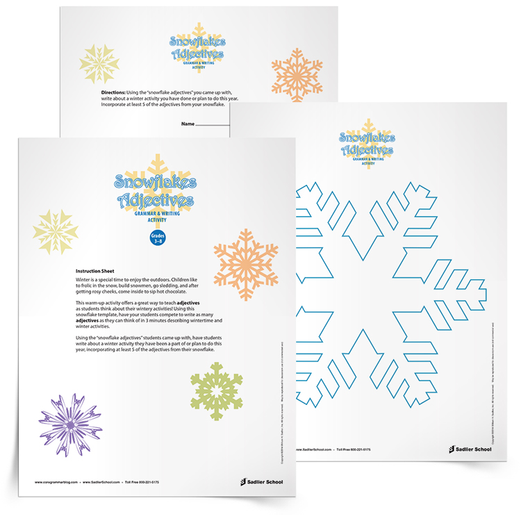 <em>Snowflake Adjectives</em> Grammar & Writing Activity