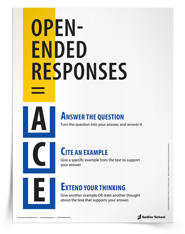Help students remember how to answer open-ended responses with the ACE Open-Ended Responses Tip Sheet. This reference sheet will give your students an easy acronym for responding to open-ended questions!
