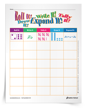 <em>Roll It! Write It! Tally It! Draw It! Expand It!</em> Math Activity
