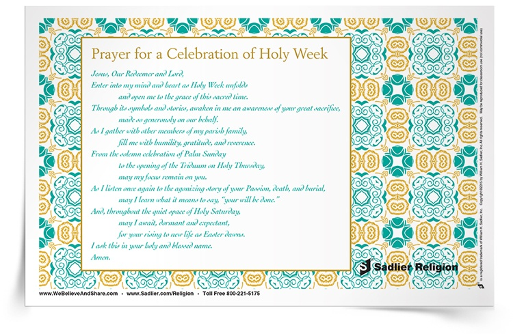 Download a Prayer for the Celebration of Holy Week to share in your home or parish.