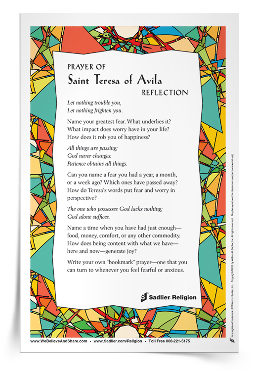 <em>Prayer of Saint Teresa of Avila</em> Reflection