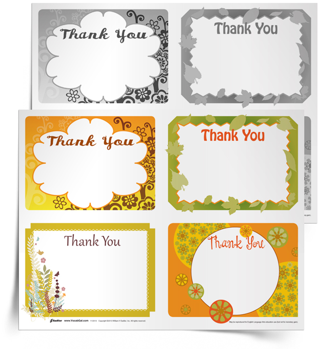 <em>Saying Thanks with Vocabulary Words</em> Notecards