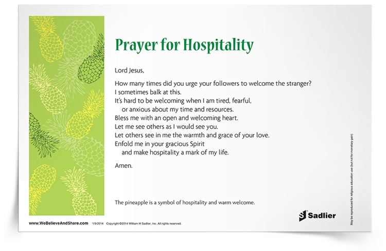 Share my Prayer for Hospitality in your home or parish as a way to receive others as you would receive Christ.