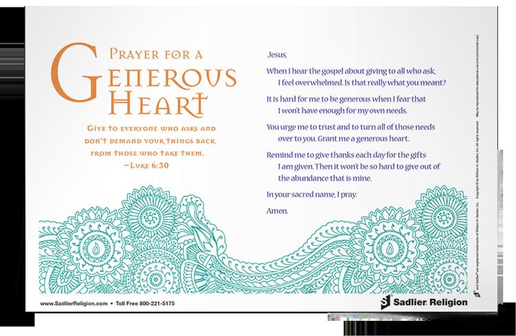 <em>Prayer For A Generous Heart</em> Prayer Card
