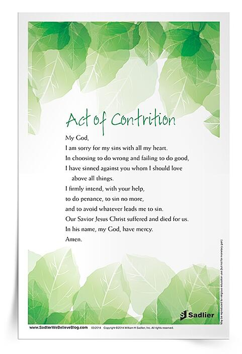 First Penance Prayer Card  This printable Act of Contrition Prayer Card supports those preparing to celebrate the Sacrament of Penance for the first time or any time.