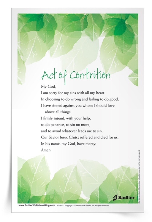 graphic about Act of Contrition Prayer Printable named An Act of Contrition Prayer Card