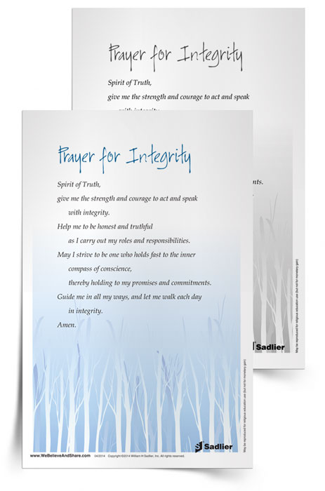 <em>Prayer for Integrity</em> Prayer Card