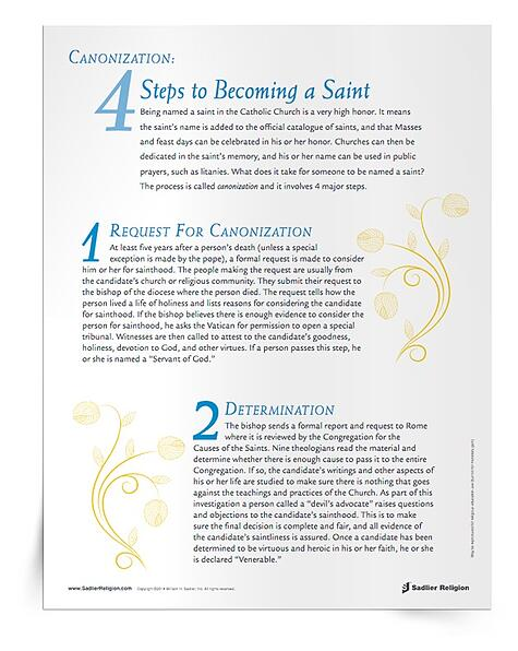 Modern saints for modern Catholics.  Teach your students about the steps to sainthood with The 4 Steps of Canonization resource.