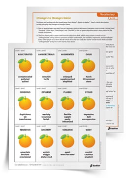<em>Oranges to Oranges</em> Vocabulary Game