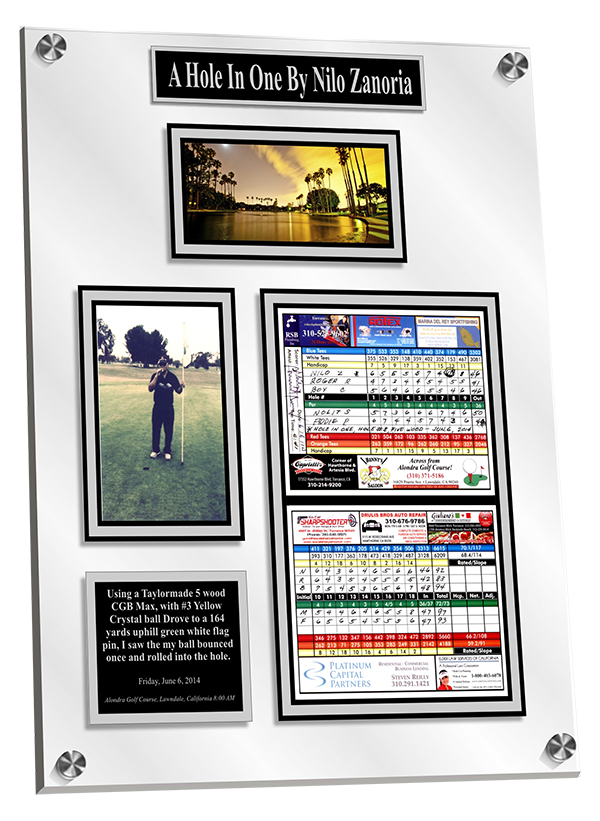 Acrylic Hole in One Wall Plaque with story of the shot on the engraved plate.