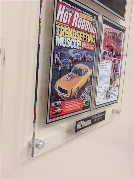 Framing magazine articles with acrylic plaques