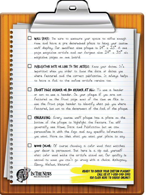 wall plaque checklist, frame articles, framing magazine articles, frame newspaper articles