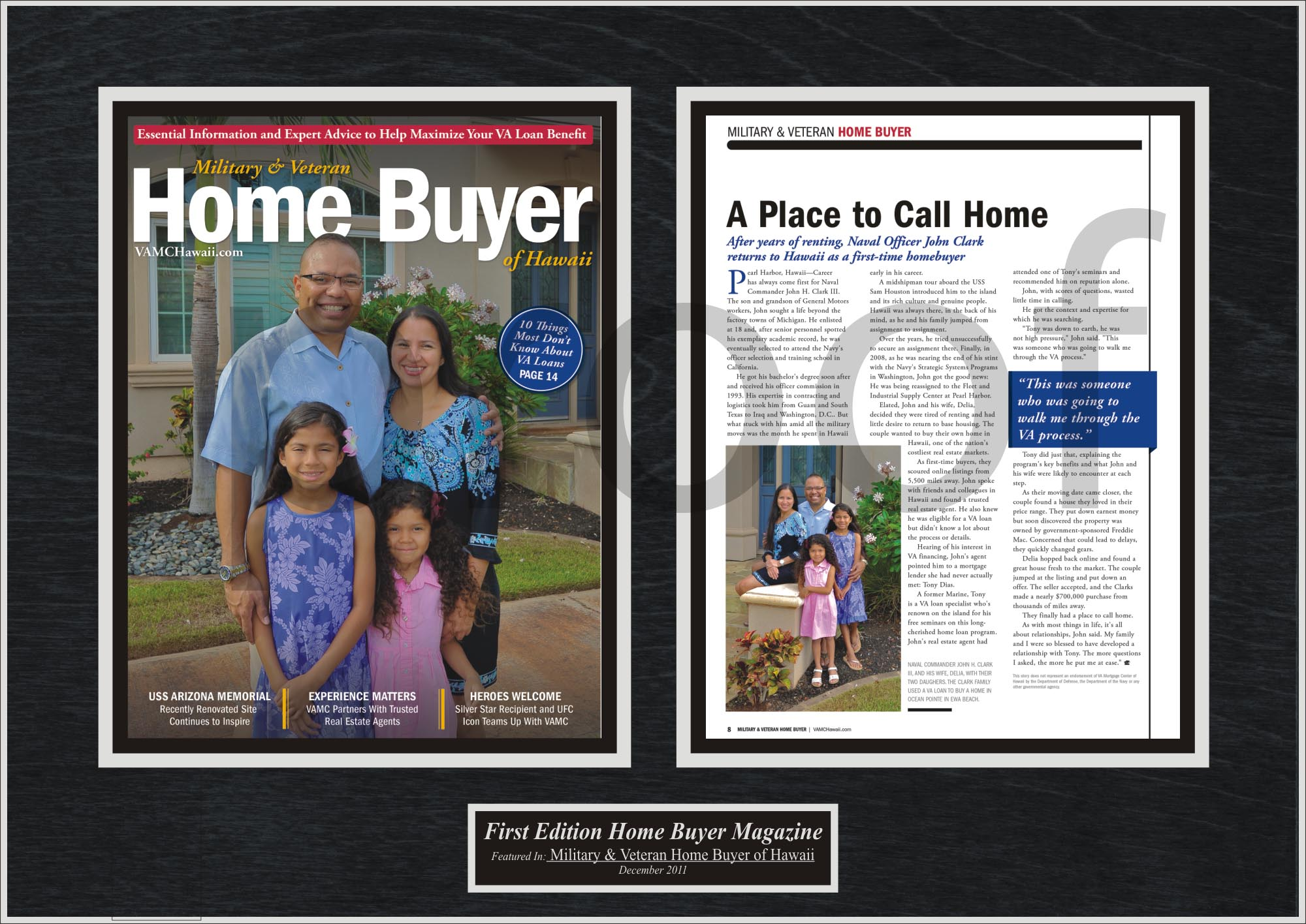 first time home buyers celebrate by framing magazine articles