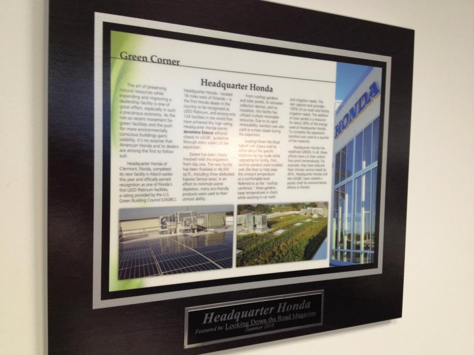 Headquarter Honda LEED Certified wall display