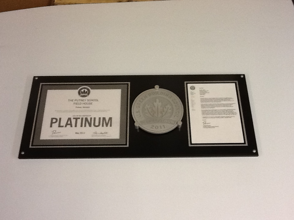 LEED certification plaque, LEED certification display