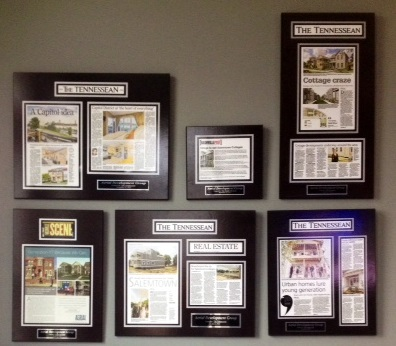 Aerial Development Group has had a lot of great press, which they've preserved with commemorative plaques featuring their favorite articles.