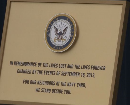 The Washington Nationals unveiled this plaque in a ceremony attended by the families of the victims who died in the Navy Yard shooting spree.