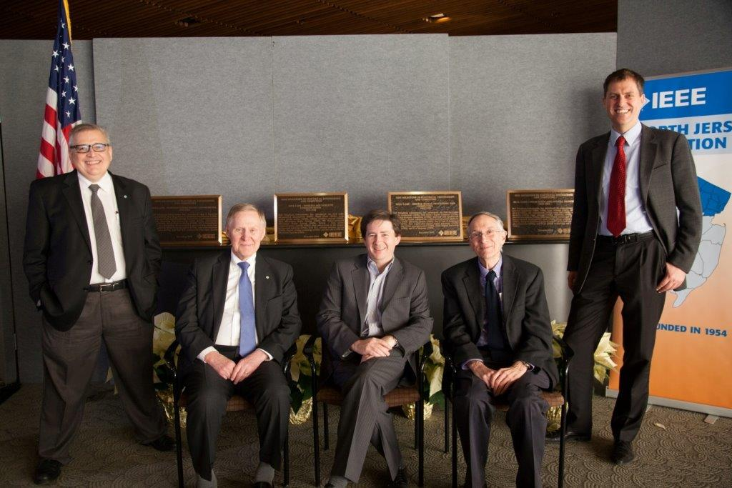 From left to right: 2014 IEEE North Jersey Section chair Russell Pepe, 2013 IEEE president Peter Staecker, president of Alcatel-Lucent Bell Labs Marcus Weldon, 2007 IEEE president Lewis Terman, and 2015 IEEE North Jersey Section chair Adriann Wijngaarden.