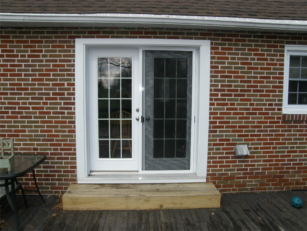 Photos of replacement windows in chester county pa for French doors to deck