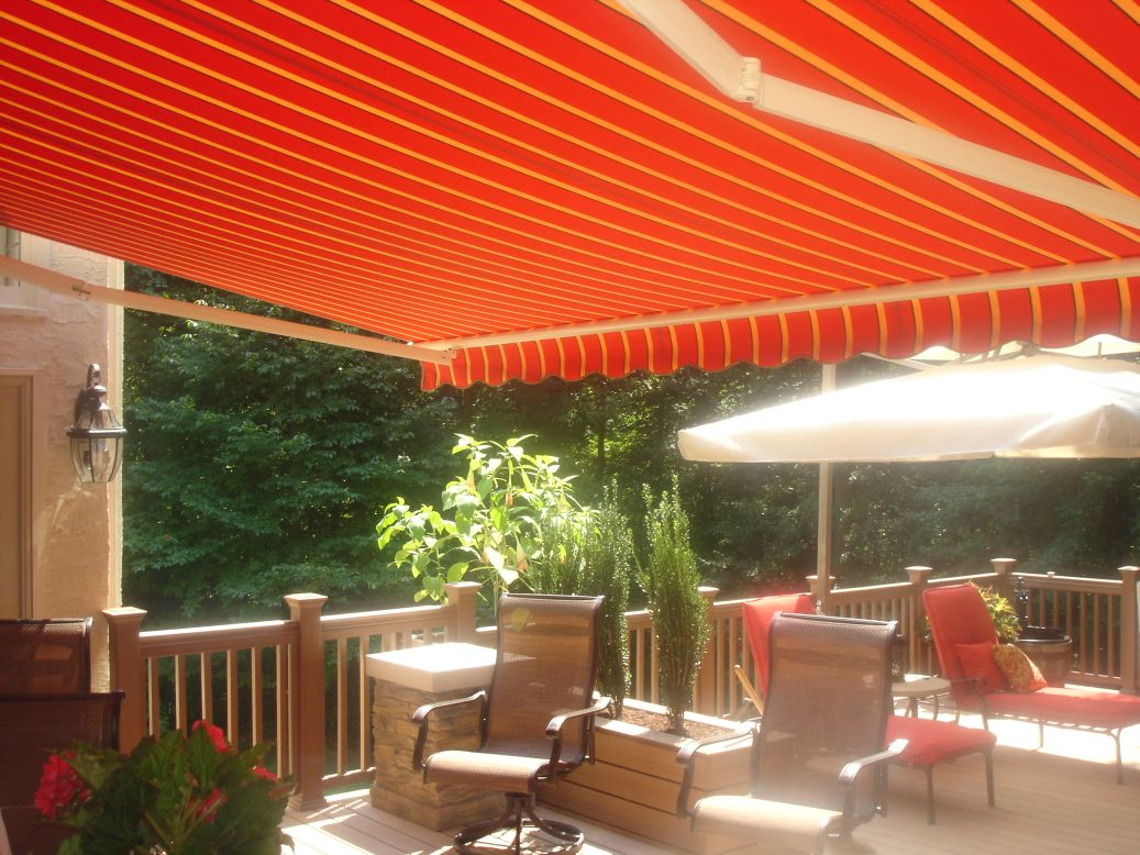 ... Awning Fabric To Match Furniture On This Motorized Retractable Awning  ...
