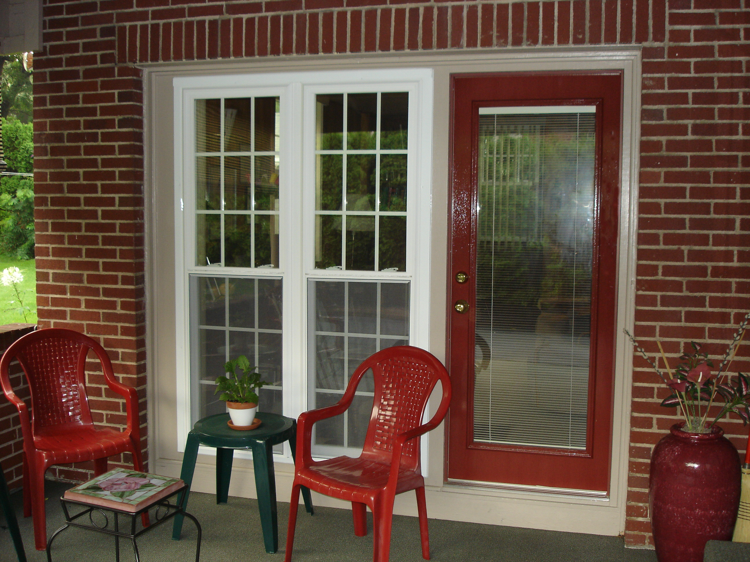 Steel entry doors with blinds between the glass panes for Replace window with door