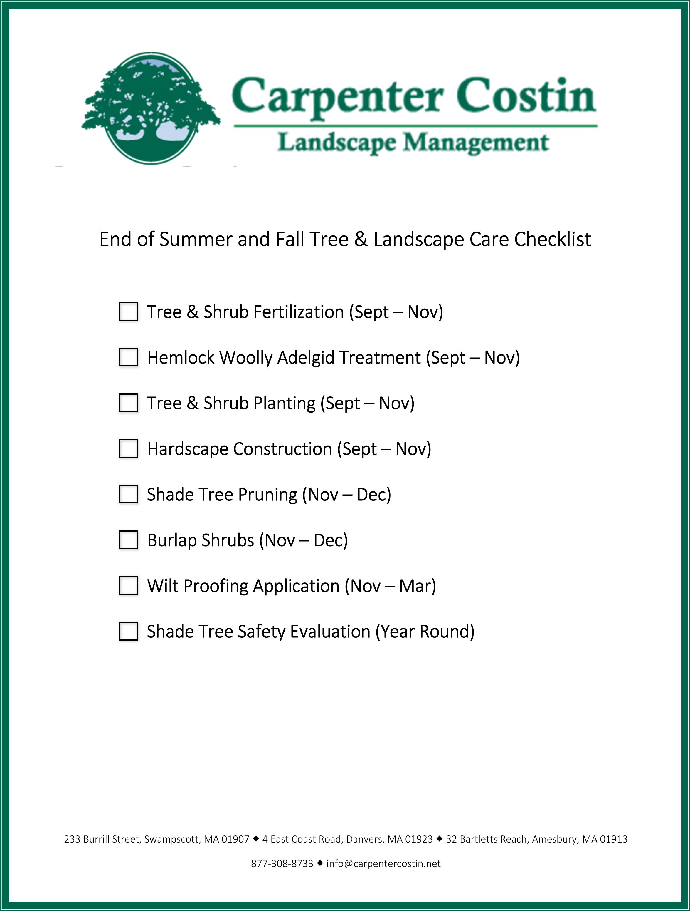 End of summer and fall checklist for Fall yard clean up checklist