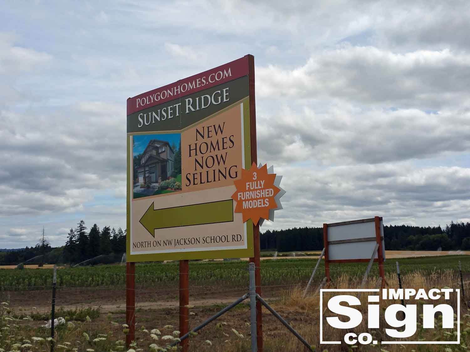 Polygon Sunset Ridge Construction Directional Sign