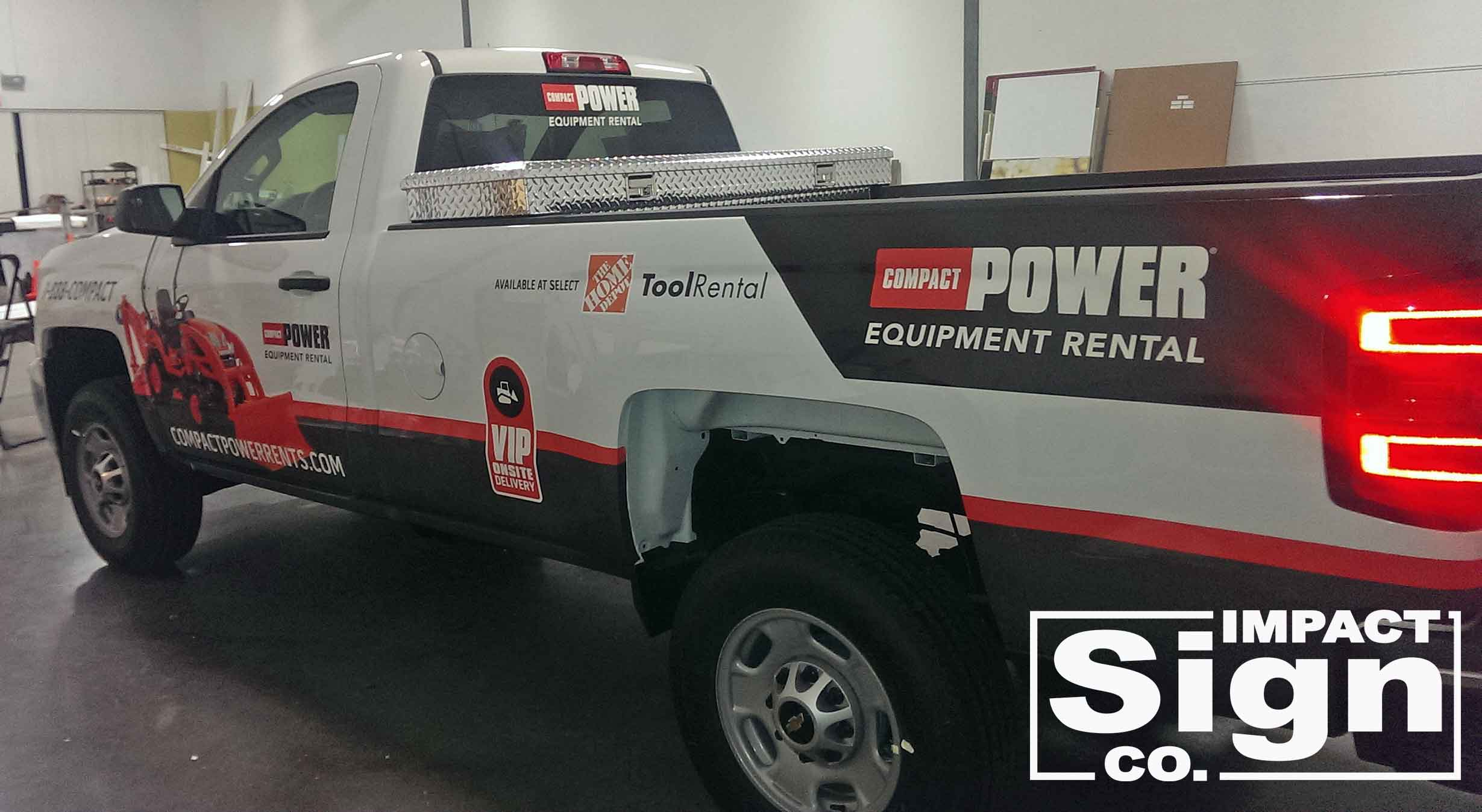 Compact Power Rents Truck Partial Wrap
