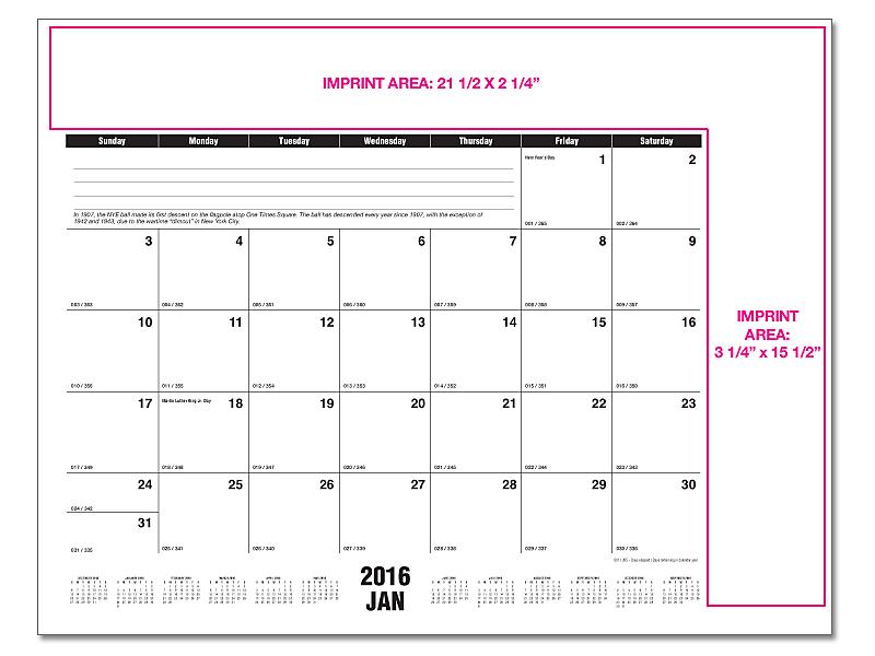 Table Calendar Size : Desk pad calendar grids