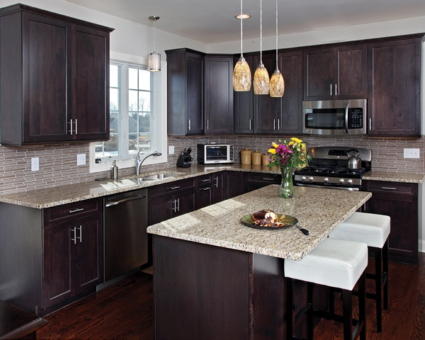 kitchen backsplash glass tile dark cabinets. The  brightening effect is continued by designing a light backsplash glass tiles are great for adding Would Small Kitchen Look Good with Black Cabinets