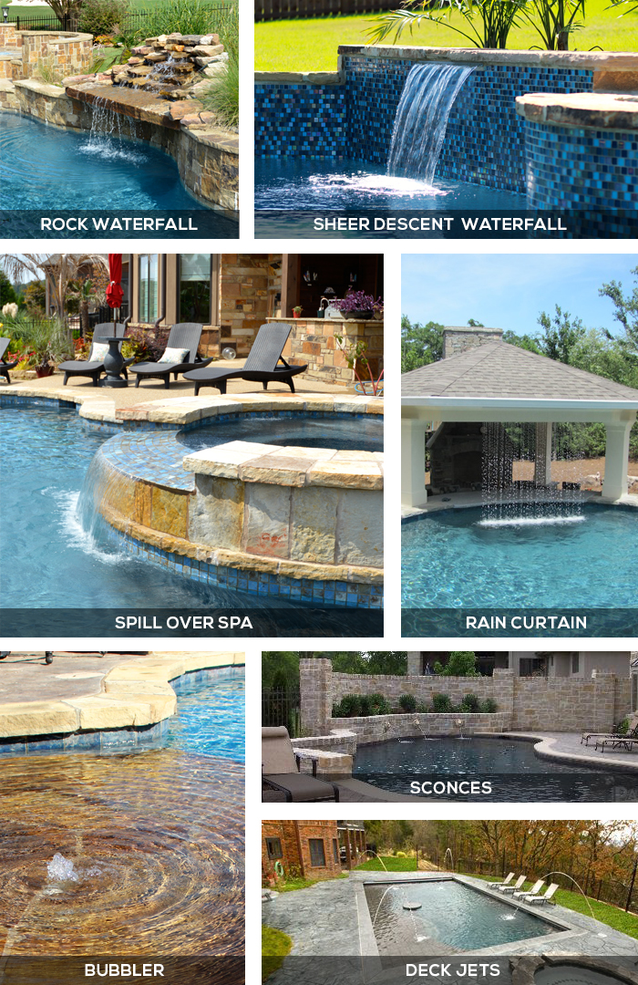 Different types of water features for in ground swimming pools for Types of inground pools
