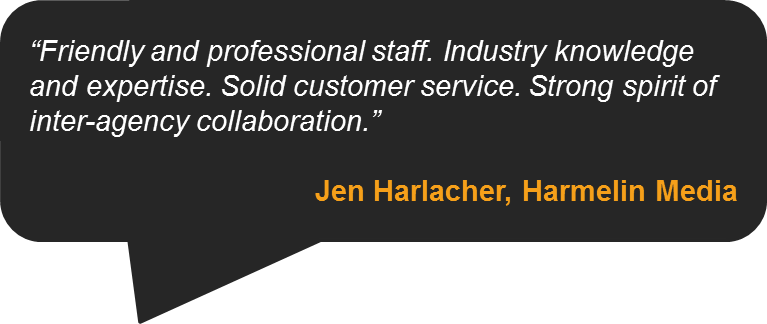 Testimonial from Jen Harlacher, Harmelin Media