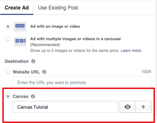 Create a Facebook Canvas Ad