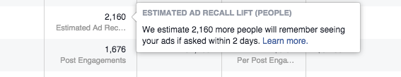 Facebook Ad Recall Lift