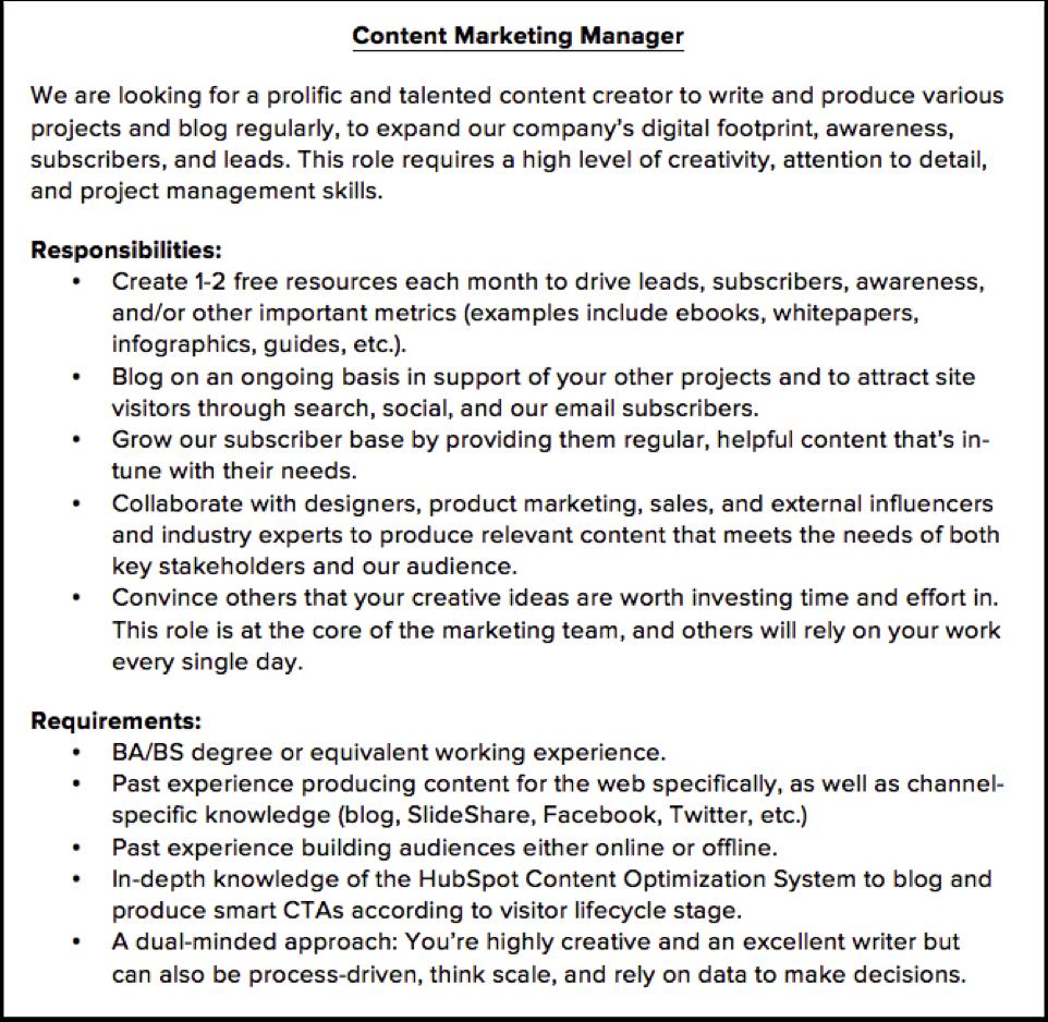 Inbound Hiring – Marketing Job Descriptions