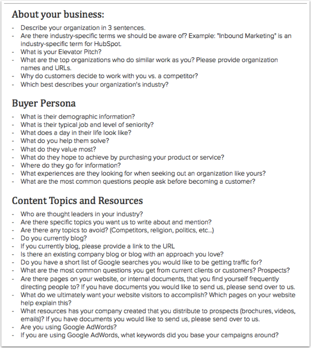 company questionnaire sample gse bookbinder co