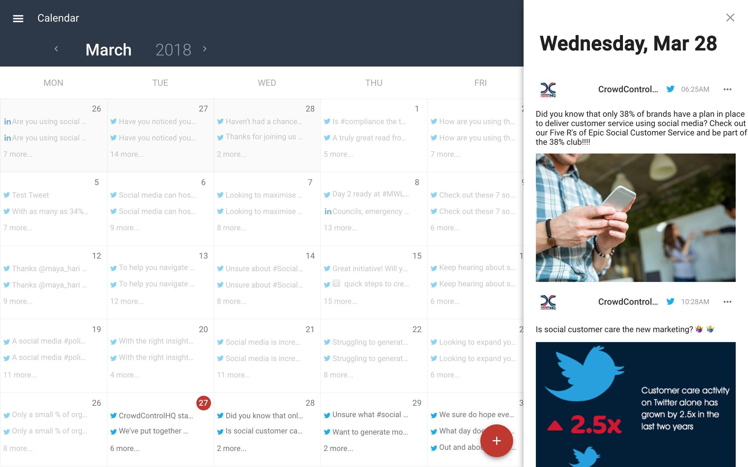 CrowdControlHQ social media scheduling calendar