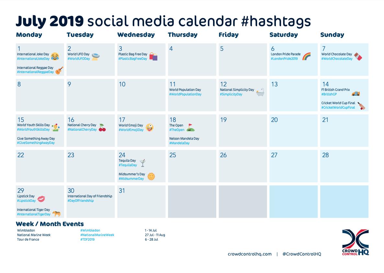 July 2019 Social Media Calendar Content & #Hashtag Ideas