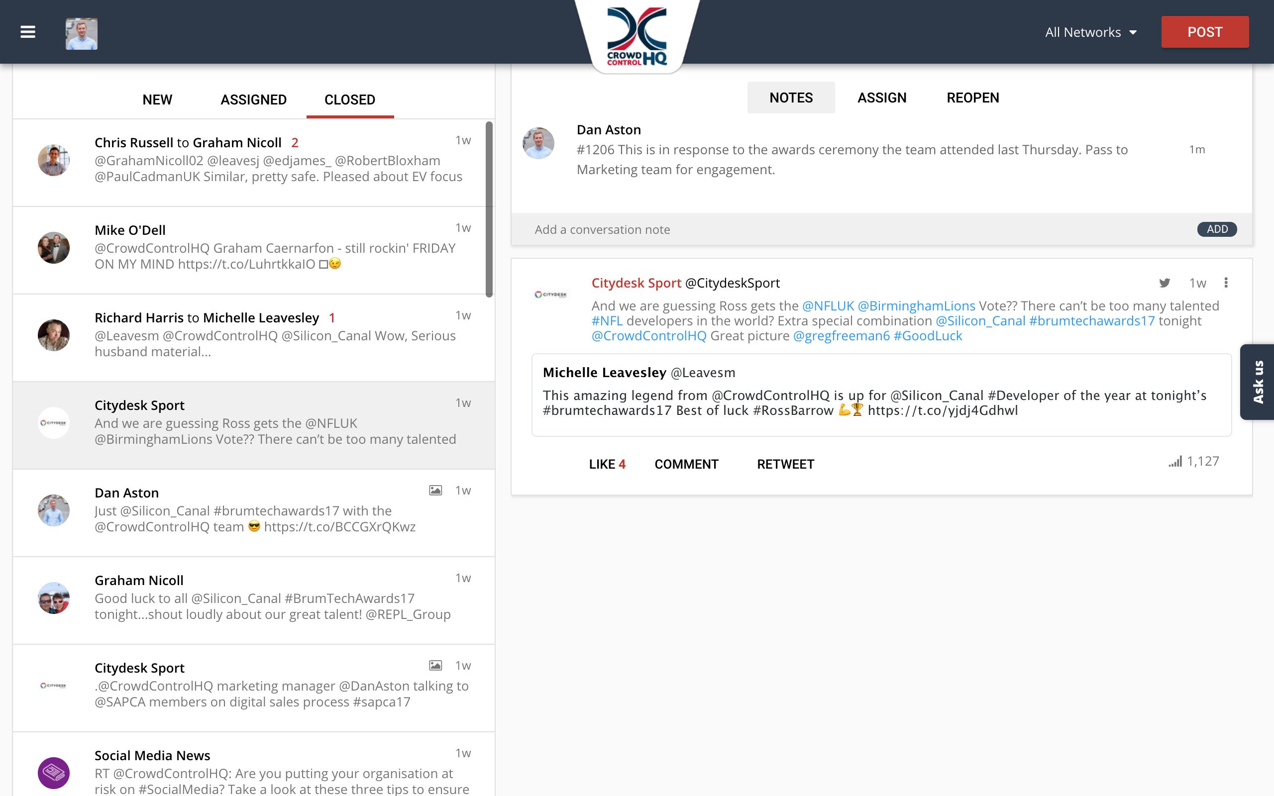 CrowdControlHQ Conversations Feature