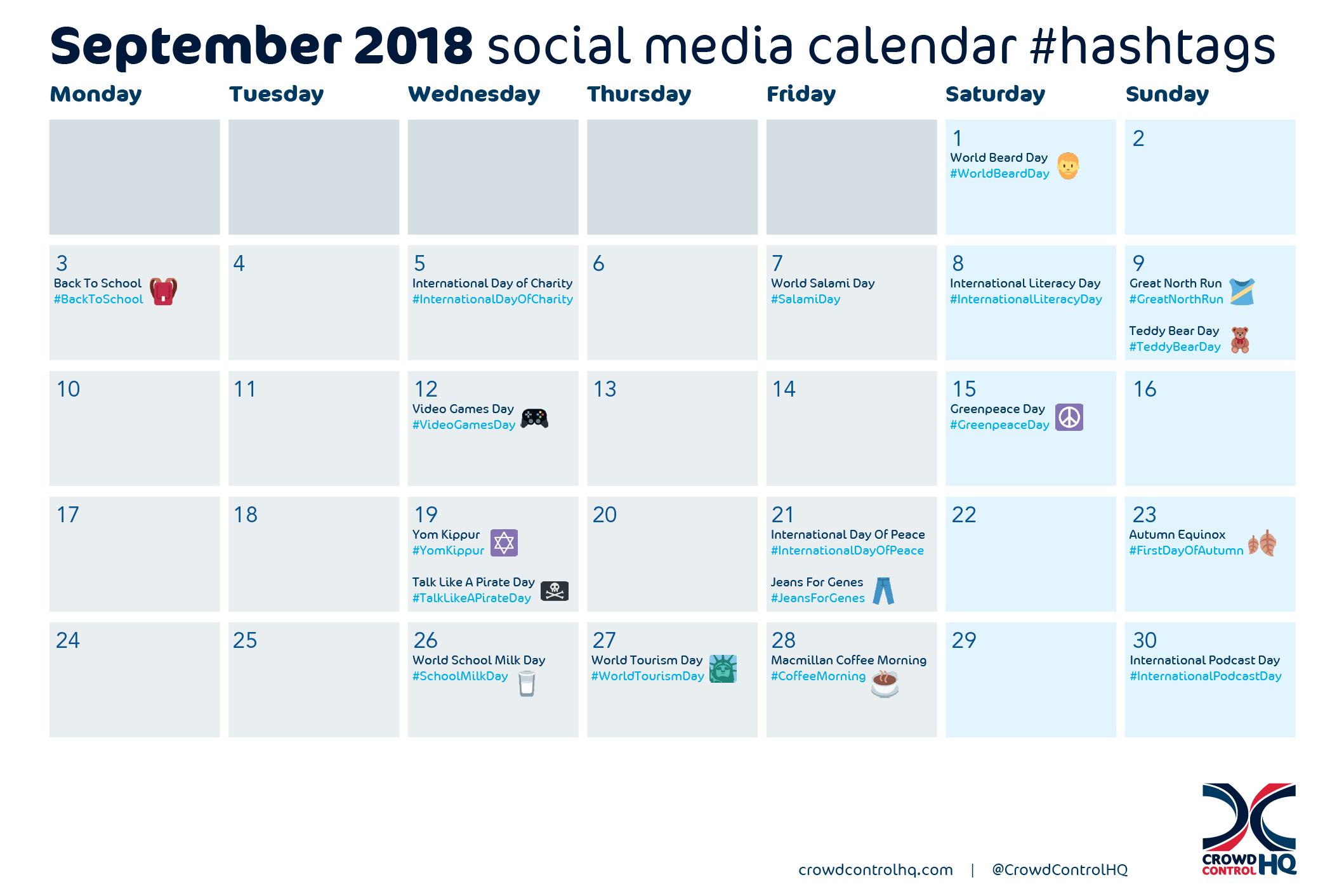 September 2018 social media calendar content & #hashtag ideas