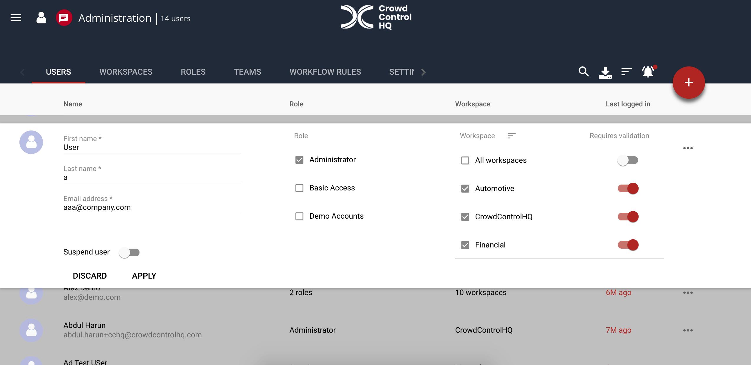 Individual user logins through CrowdControlHQ