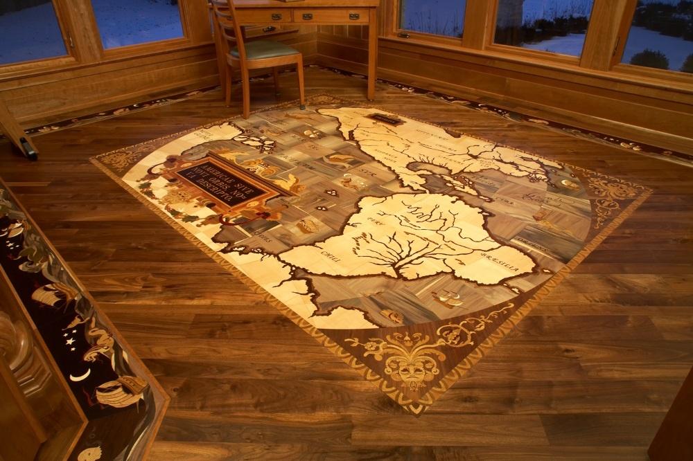 The magic of hardwood floor medallions for Floor inlay designs