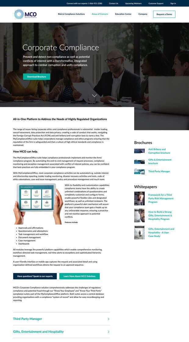 MCO website desktop buyer's journey
