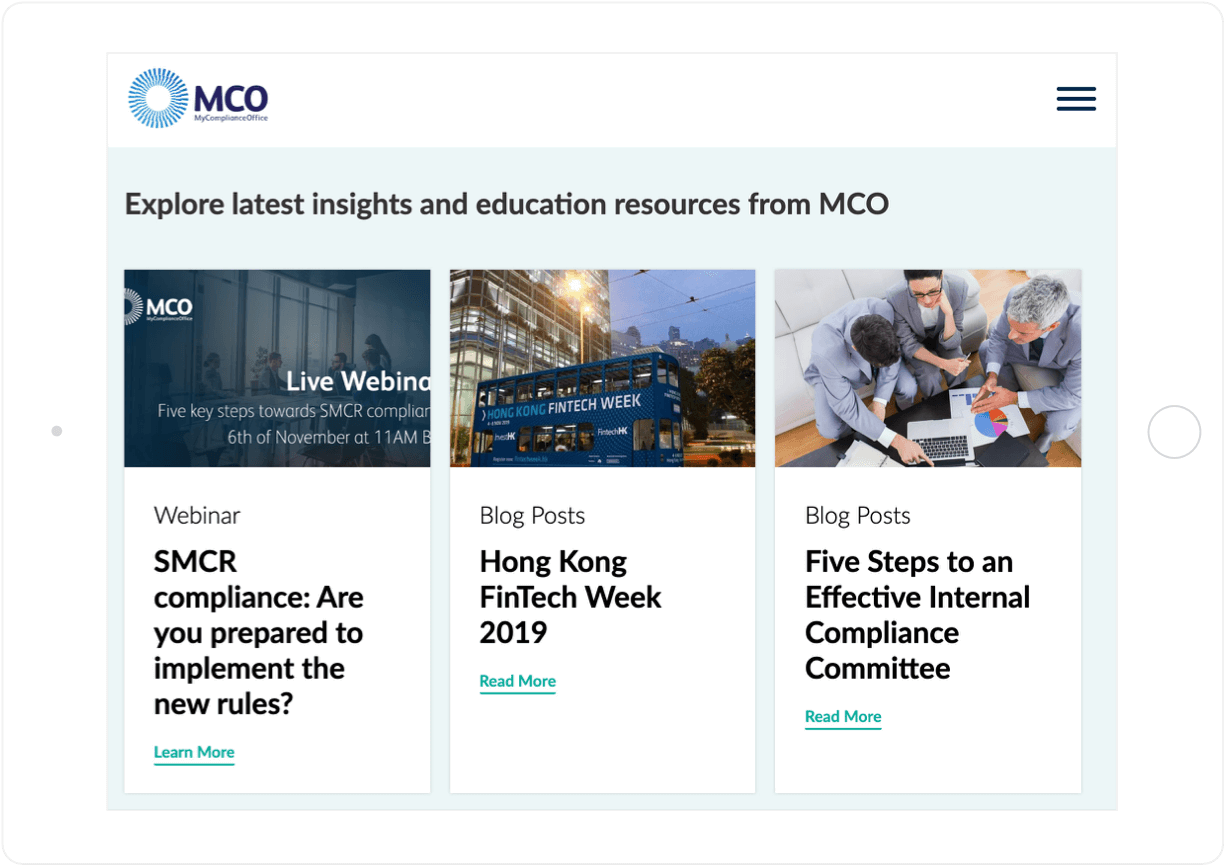 MCO website color palette tablet