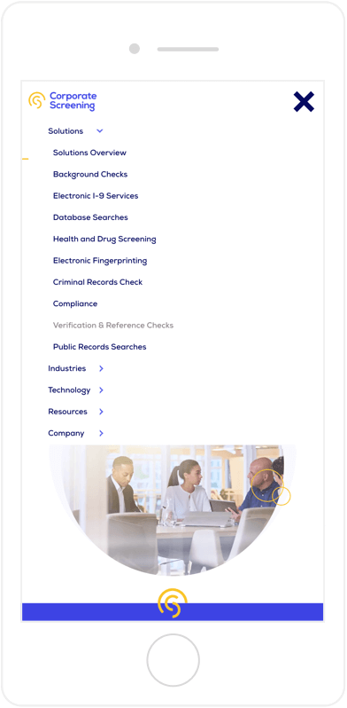 Corporate Screening Navigation on Mobile