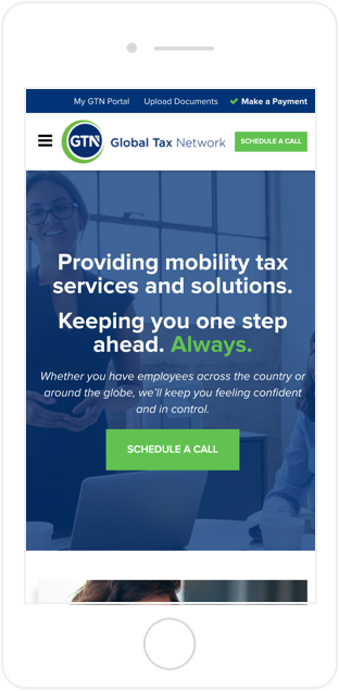 Global Tax Network website mobile view