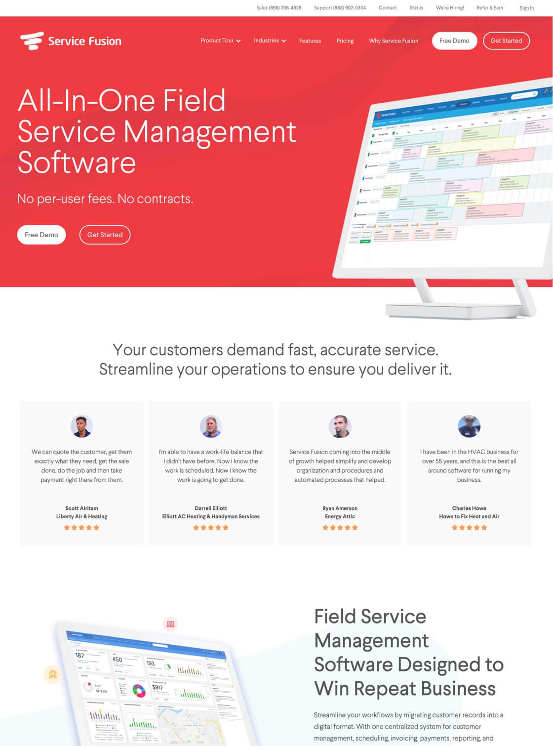 Service Fusion website on desktop