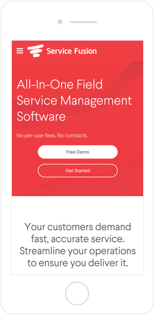 Service Fusion website on mobile