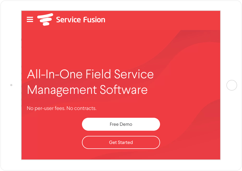 Service Fusion website on tablet
